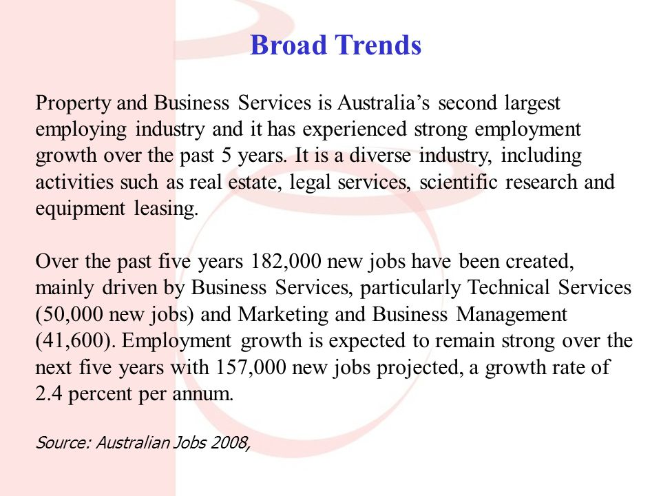Broad Trends Property and Business Services is Australia's second largest employing industry and it has experienced strong employment growth over the past 5 years.