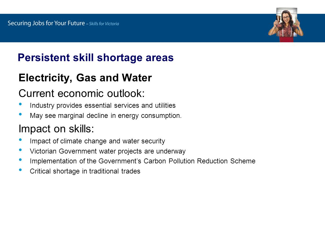 Persistent skill shortage areas Electricity, Gas and Water Current economic outlook: Industry provides essential services and utilities May see marginal decline in energy consumption.