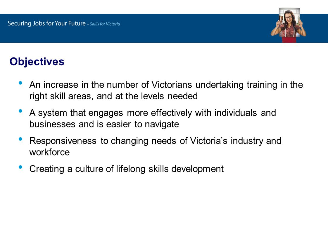 Overall Implementation Program Skills for Growth Expanded Role of ITABS Skills Pledge Apprenticeships – Retention Completion bonus ACFE preaccredited Training Enhancement of State Register Qualifications Navigator Reaching the Market – Communications Strategy World Class TAFE facilities TAFE Broadband TAFE Workforce ACFE Stronger Providers Training System Development and Implementation Support Contestable Funding