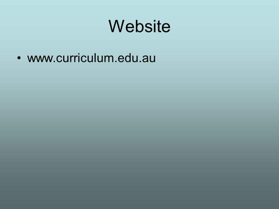 Website www.curriculum.edu.au