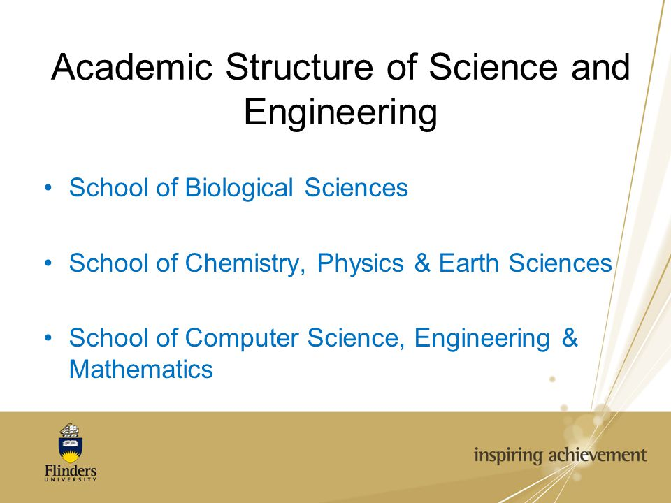 Academic Structure of Science and Engineering School of Biological Sciences School of Chemistry, Physics & Earth Sciences School of Computer Science, Engineering & Mathematics