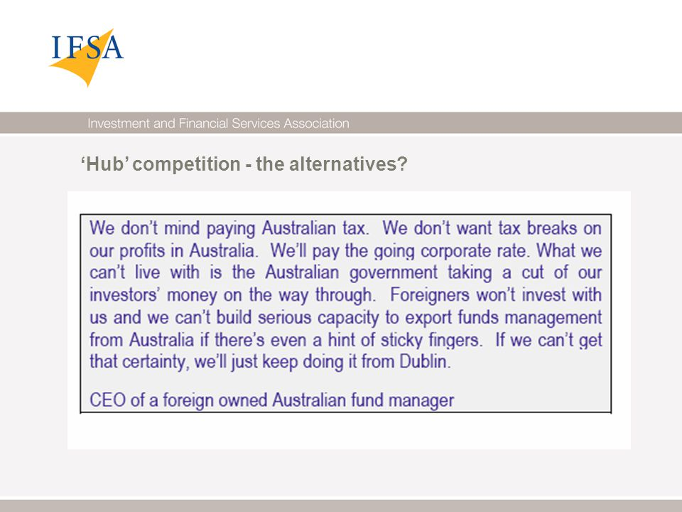 'Hub' competition - the alternatives