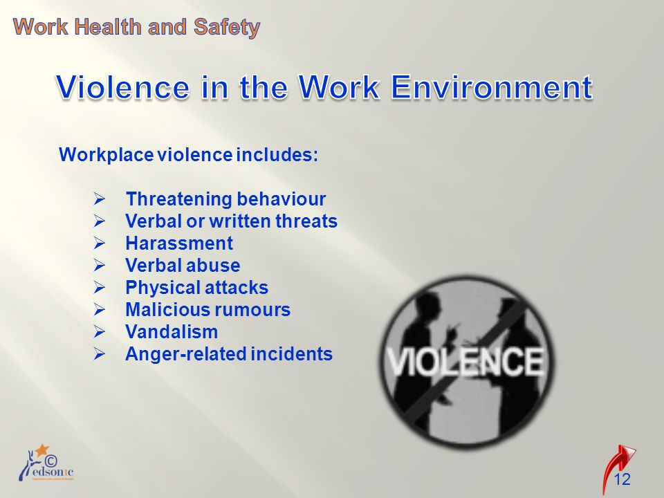12 Workplace violence includes:  Threatening behaviour  Verbal or written threats  Harassment  Verbal abuse  Physical attacks  Malicious rumours  Vandalism  Anger-related incidents