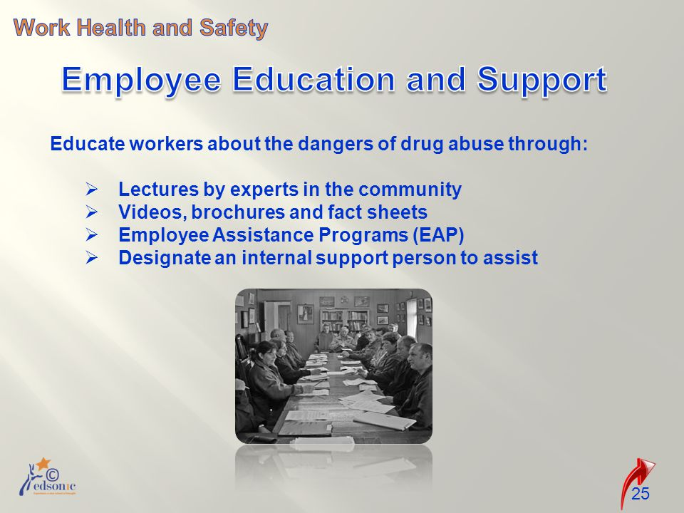 25 Educate workers about the dangers of drug abuse through:  Lectures by experts in the community  Videos, brochures and fact sheets  Employee Assistance Programs (EAP)  Designate an internal support person to assist