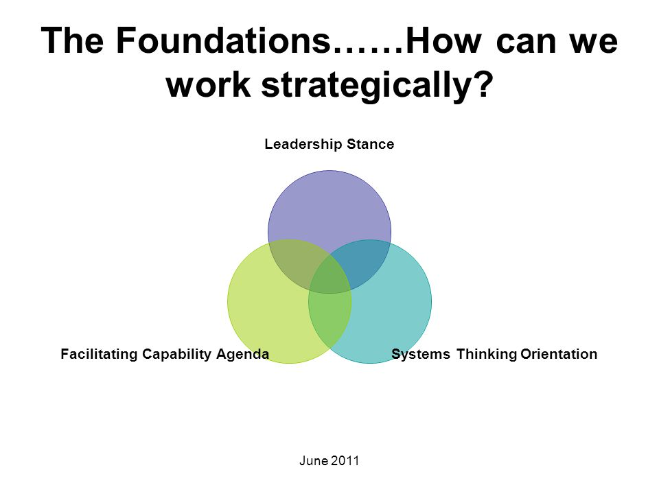 The Foundations……How can we work strategically? Leadership Stance Systems Thinking Orientation Facilitating Capability Agenda June 2011