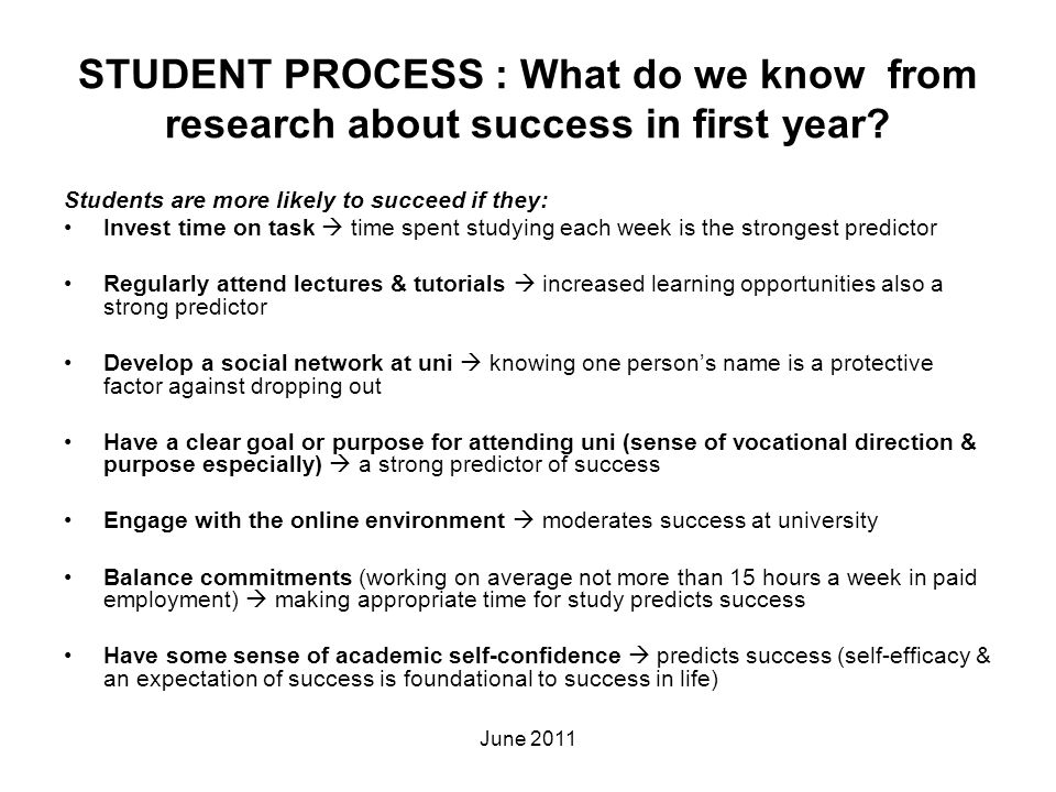 STUDENT PROCESS : What do we know from research about success in first year? Students are more likely to succeed if they: Invest time on task  time s