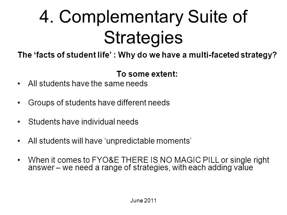 4. Complementary Suite of Strategies The 'facts of student life' : Why do we have a multi-faceted strategy? To some extent: All students have the same