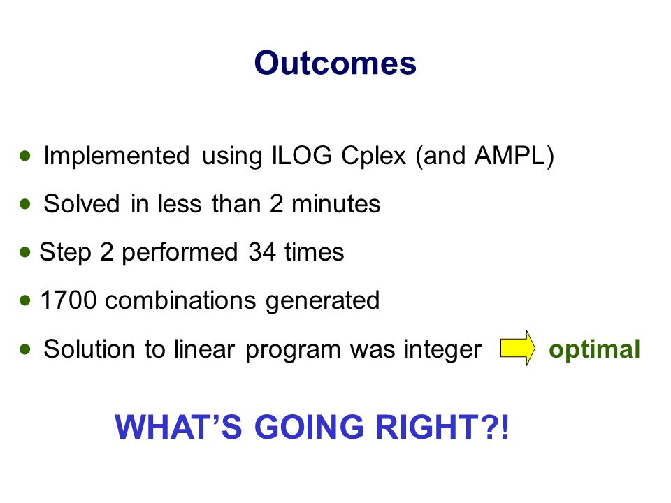Outcomes  Implemented using ILOG Cplex (and AMPL)  Solved in less than 2 minutes  Step 2 performed 34 times  1700 combinations generated  Solution to linear program was integer optimal WHAT'S GOING RIGHT !