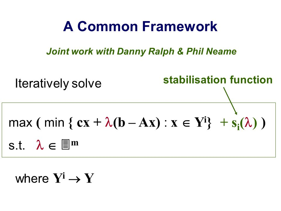 A Common Framework Iteratively solve max ( min { cx + (b – Ax) : x  Y i } ) s.t.   m + s i ( ) where Y i  Y Joint work with Danny Ralph & Phil Nea
