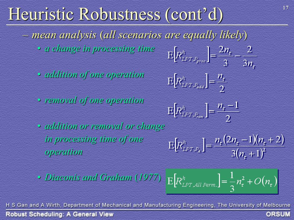 17 Heuristic Robustness (cont'd) –mean analysis (all scenarios are equally likely) a change in processing timea change in processing time addition of