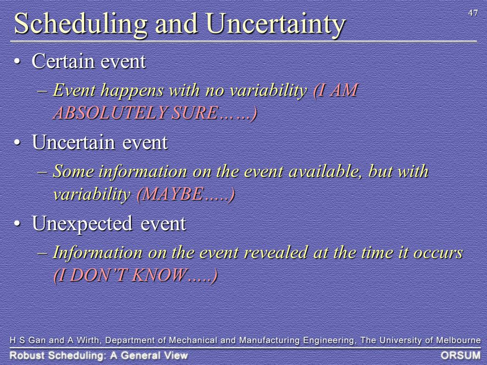 47 Scheduling and Uncertainty Certain eventCertain event –Event happens with no variability (I AM ABSOLUTELY SURE……) Uncertain eventUncertain event –S