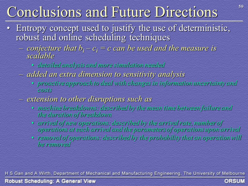 59 Conclusions and Future Directions Entropy concept used to justify the use of deterministic, robust and online scheduling techniquesEntropy concept