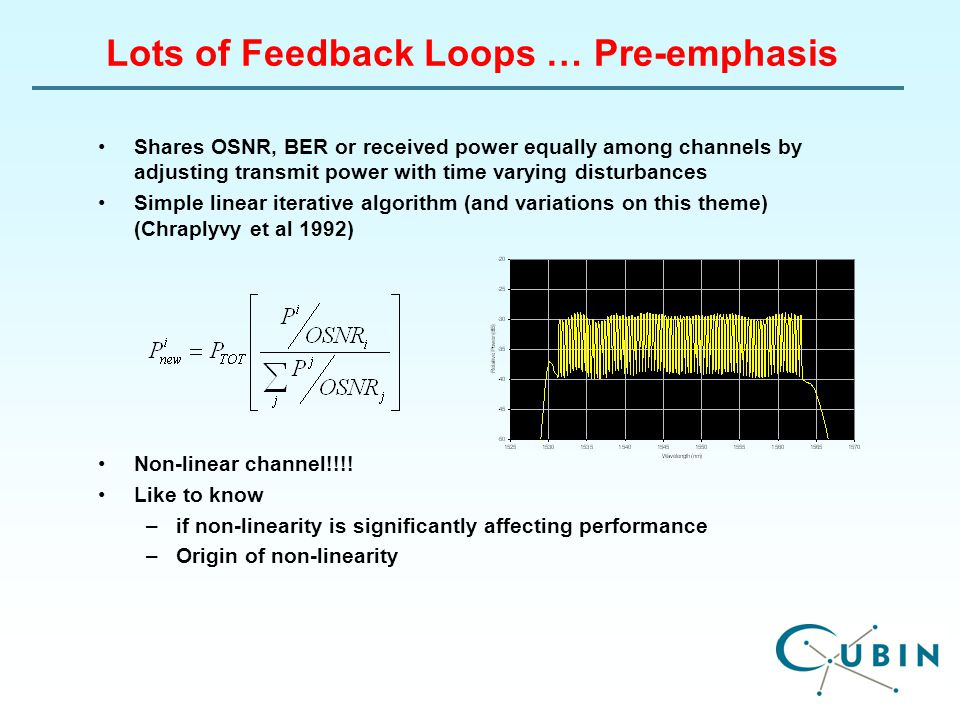 Lots of Feedback Loops … Pre-emphasis Shares OSNR, BER or received power equally among channels by adjusting transmit power with time varying disturbances Simple linear iterative algorithm (and variations on this theme) (Chraplyvy et al 1992) Non-linear channel!!!.