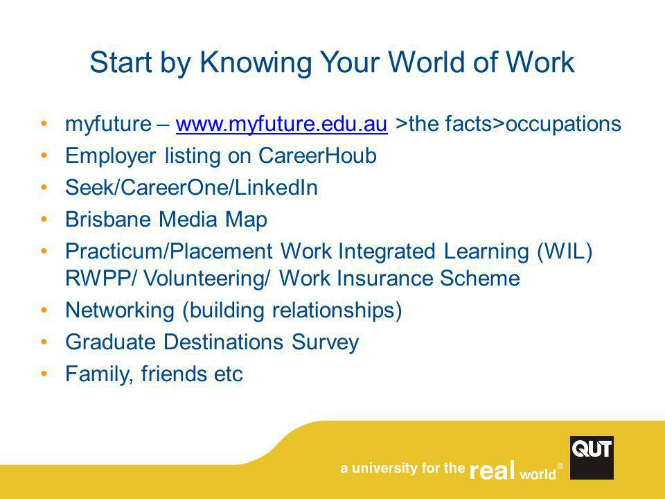 Start by Knowing Your World of Work myfuture – www.myfuture.edu.au >the facts>occupationswww.myfuture.edu.au Employer listing on CareerHoub Seek/Caree