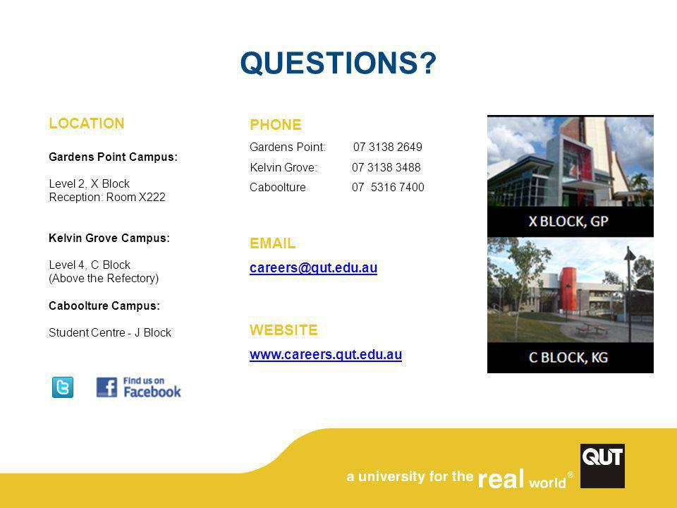 QUESTIONS? LOCATION Gardens Point Campus: Level 2, X Block Reception: Room X222 Kelvin Grove Campus: Level 4, C Block (Above the Refectory) Caboolture