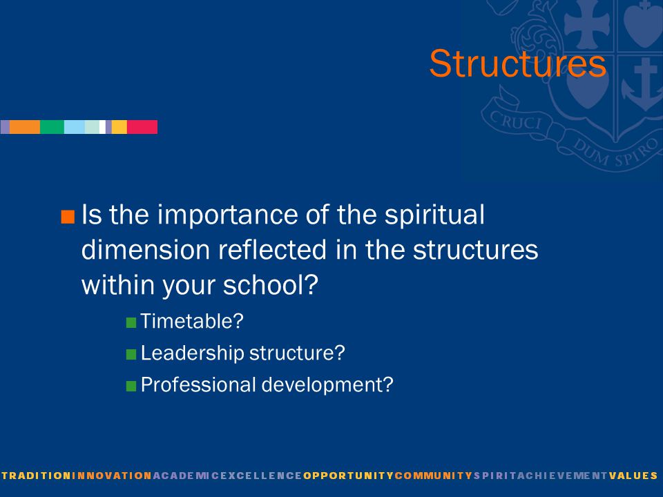 Structures  Is the importance of the spiritual dimension reflected in the structures within your school.