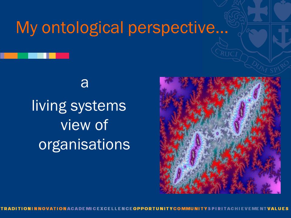 My ontological perspective… a living systems view of organisations