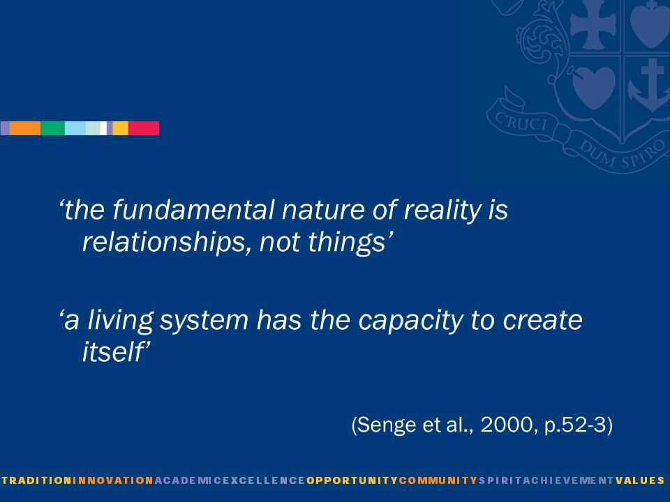 'the fundamental nature of reality is relationships, not things' 'a living system has the capacity to create itself' (Senge et al., 2000, p.52-3)