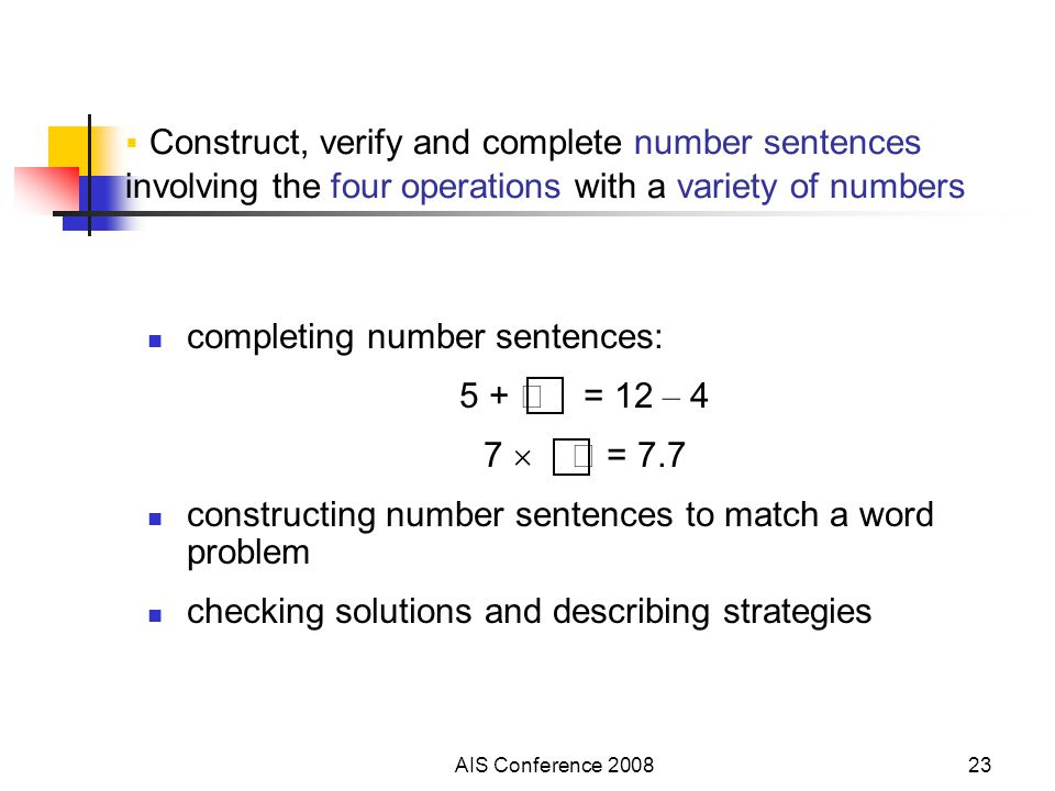 AIS Conference 200823  Construct, verify and complete number sentences involving the four operations with a variety of numbers completing number sent
