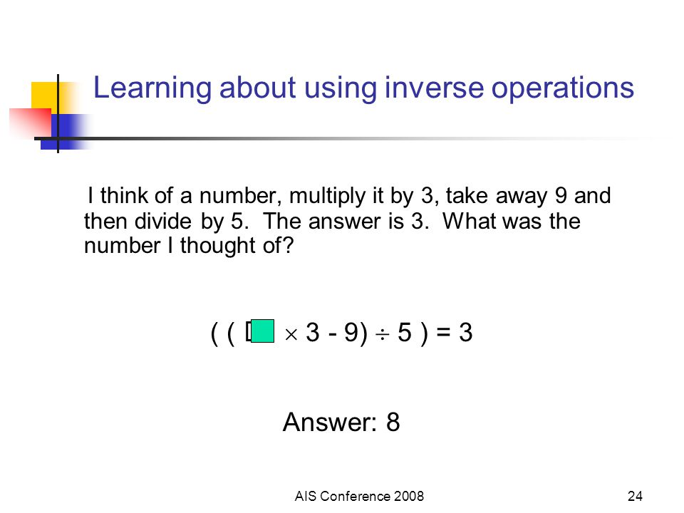 AIS Conference 200824 Learning about using inverse operations I think of a number, multiply it by 3, take away 9 and then divide by 5. The answer is 3