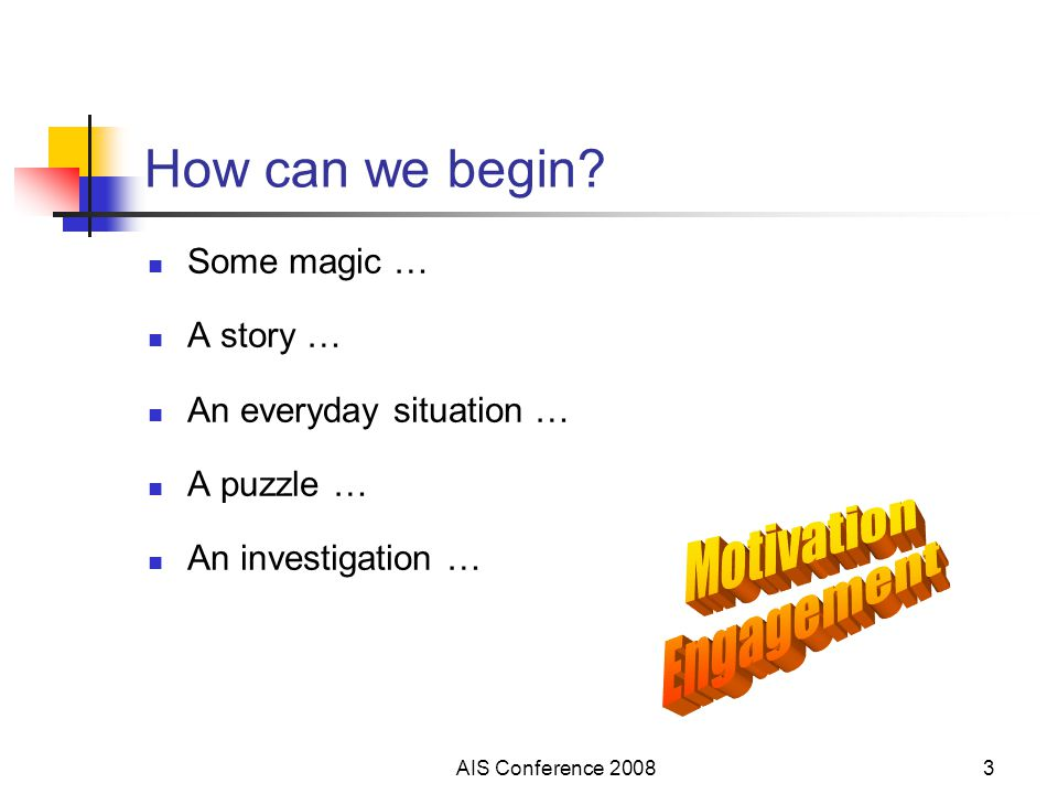 AIS Conference 20083 How can we begin? Some magic … A story … An everyday situation … A puzzle … An investigation …