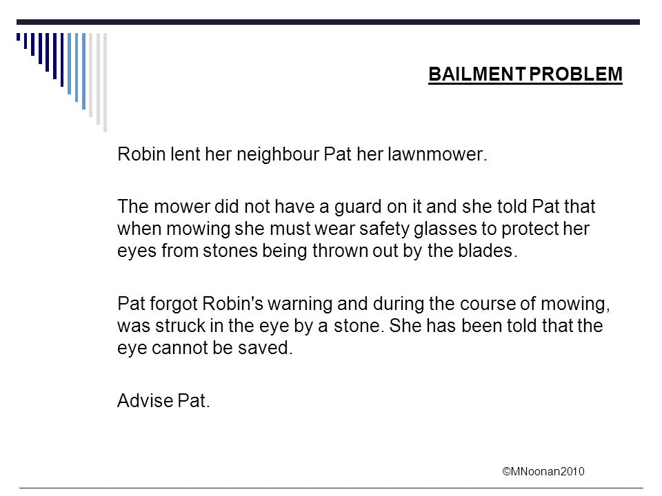 ©MNoonan2010 BAILMENT PROBLEM Robin lent her neighbour Pat her lawnmower. The mower did not have a guard on it and she told Pat that when mowing she m