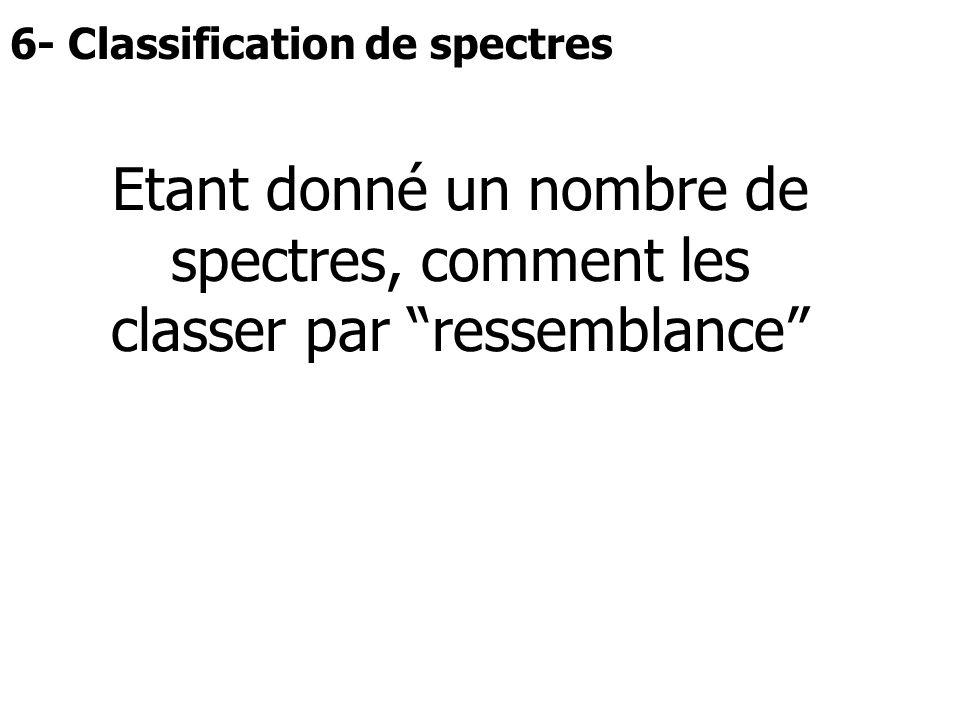 """6- Classification de spectres Etant donné un nombre de spectres, comment les classer par """"ressemblance"""""""