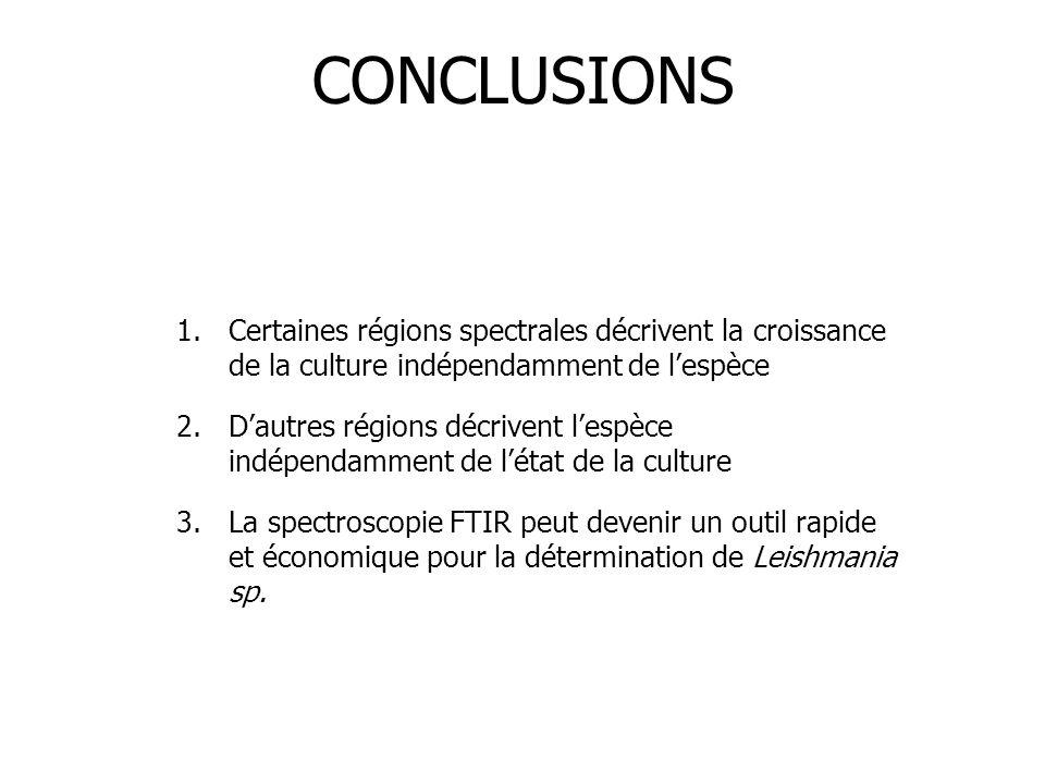 CONCLUSIONS 1.Certaines régions spectrales décrivent la croissance de la culture indépendamment de l'espèce 2.D'autres régions décrivent l'espèce indé