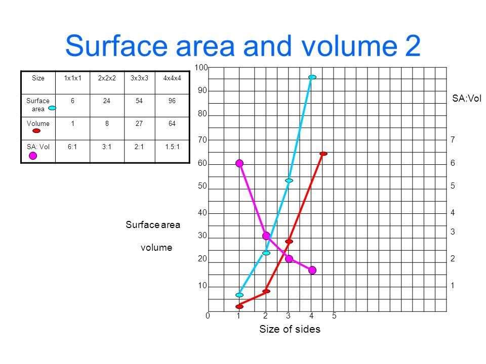 Surface area and volume 2 Size1x1x12x2x23x3x34x4x4 Surface area 6245496 Volume182764 SA: Vol6:13:12:11.5:1 Size of sides 10 234 Surface area volume SA:Vol 1 2 3 4 5 6 7 1 20 30 40 50 60 70 80 90 100 50