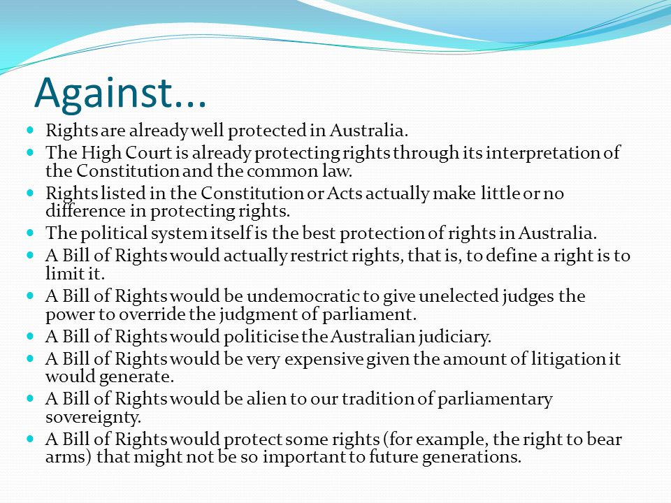 The principle of legality Parliament does not interfere with fundamental rights Al-Kateb v Godwin Evans v State of New South Wales [2008] FCAFC 130 We have interpreted the WYD Act on the presumption that it was not the intention of Parliament that regulations would be made under the Act preventing or interfering with the exercise of the fundamental freedom of speech.