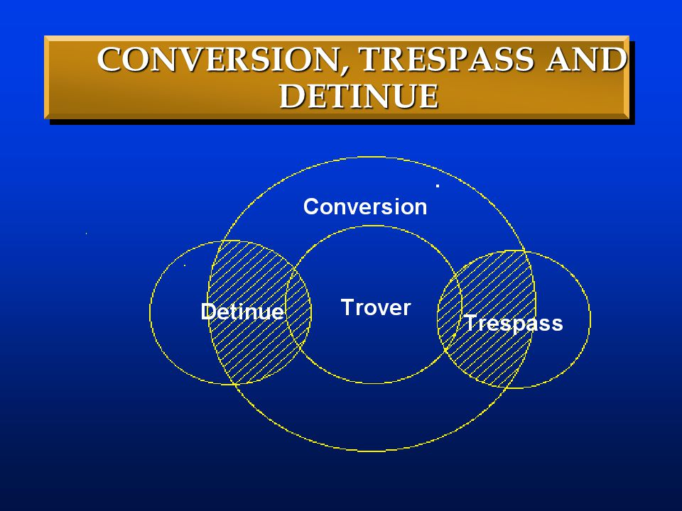 CONVERSION, TRESPASS AND DETINUE CONVERSION, TRESPASS AND DETINUE