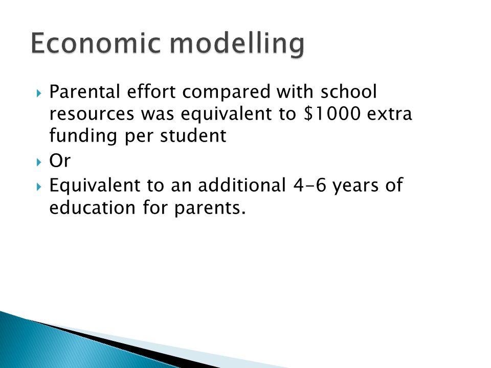  Parental effort compared with school resources was equivalent to $1000 extra funding per student  Or  Equivalent to an additional 4-6 years of education for parents.