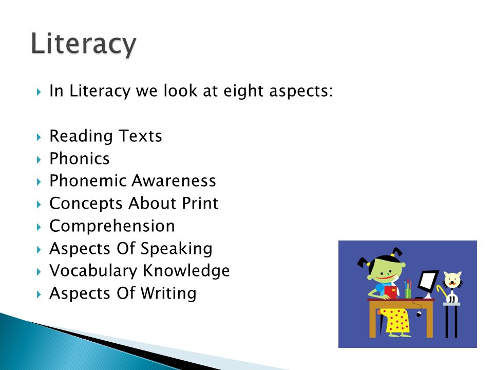  In Literacy we look at eight aspects:  Reading Texts  Phonics  Phonemic Awareness  Concepts About Print  Comprehension  Aspects Of Speaking  Vocabulary Knowledge  Aspects Of Writing