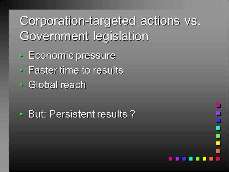 Corporation-targeted actions vs.