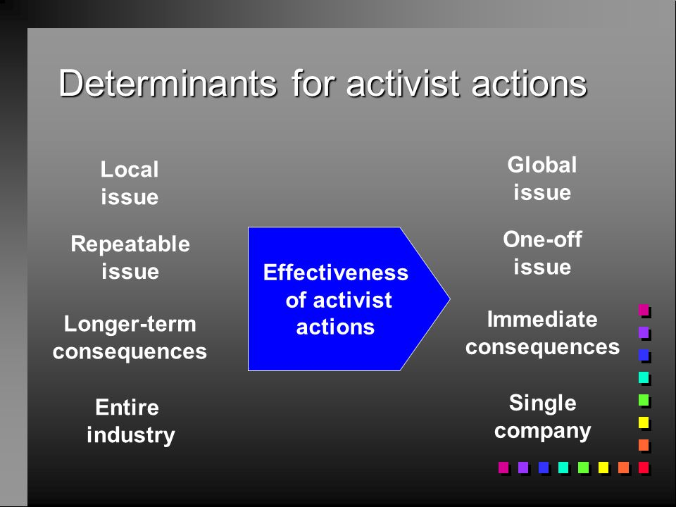 Determinants for activist actions Local issue Repeatable issue Longer-term consequences Entire industry Global issue One-off issue Immediate consequences Single company Effectiveness of activist actions