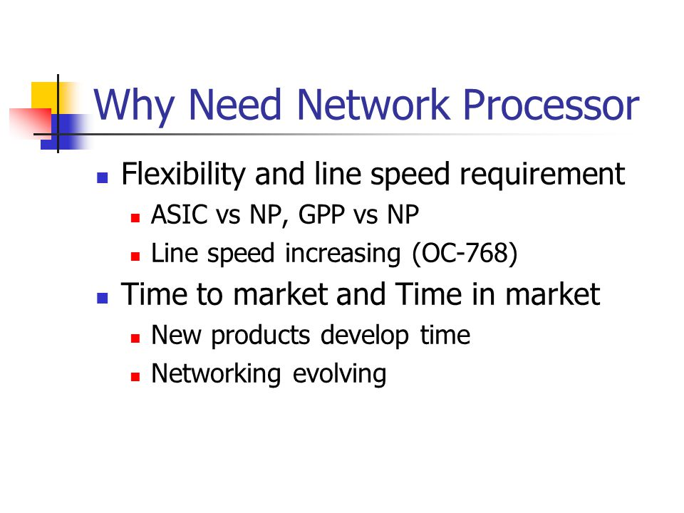 Why Need Network Processor Flexibility and line speed requirement ASIC vs NP, GPP vs NP Line speed increasing (OC-768) Time to market and Time in market New products develop time Networking evolving