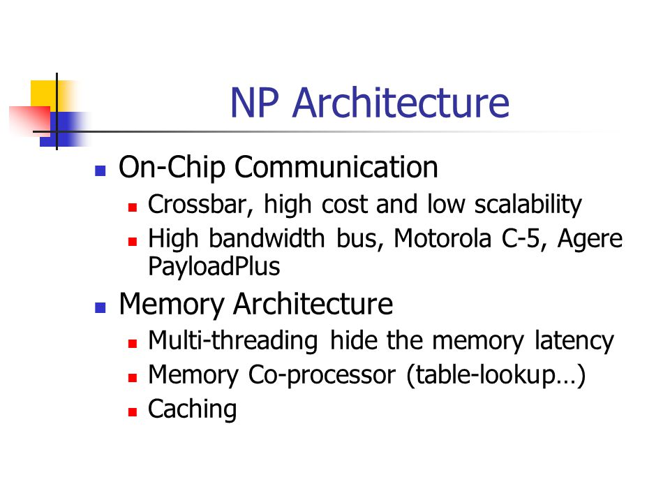 NP Architecture On-Chip Communication Crossbar, high cost and low scalability High bandwidth bus, Motorola C-5, Agere PayloadPlus Memory Architecture Multi-threading hide the memory latency Memory Co-processor (table-lookup…) Caching