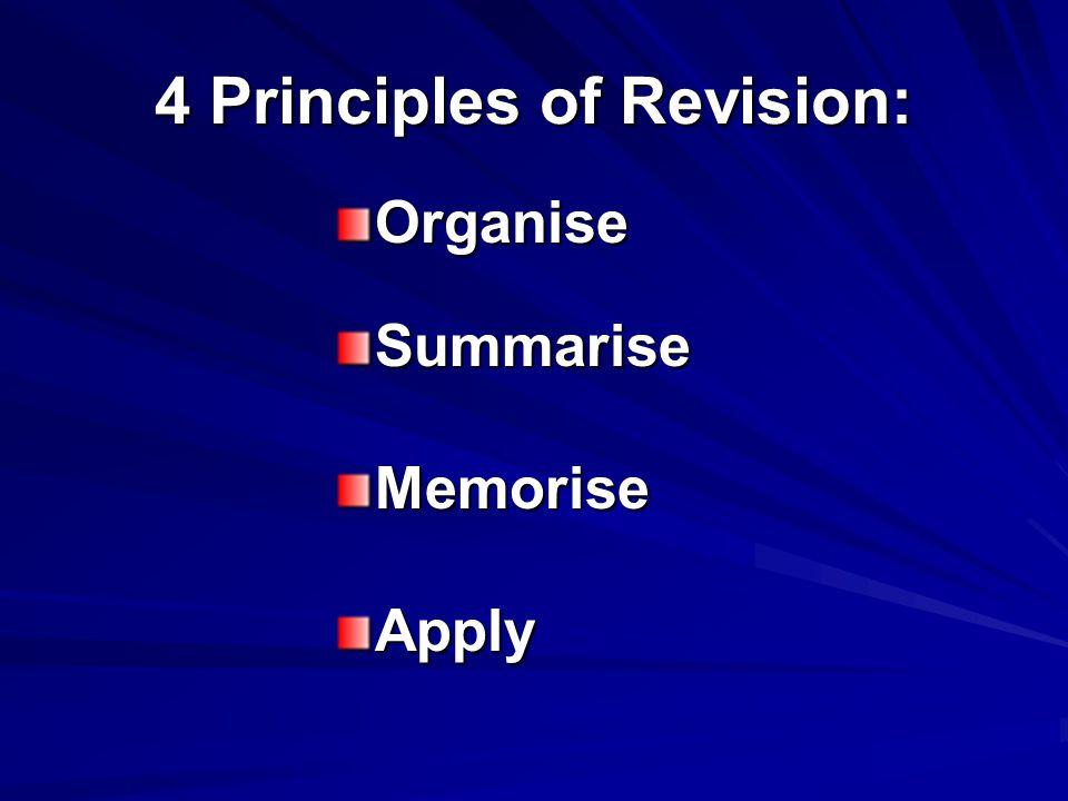 4 Principles of Revision: OrganiseSummariseMemoriseApply