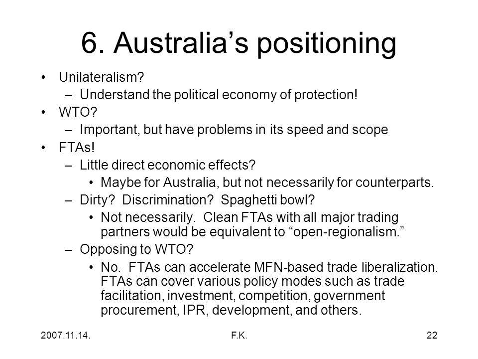 2007.11.14.F.K.22 6.Australia's positioning Unilateralism.