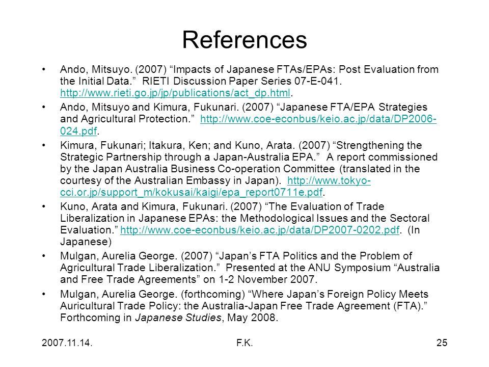 2007.11.14.F.K.25 References Ando, Mitsuyo.
