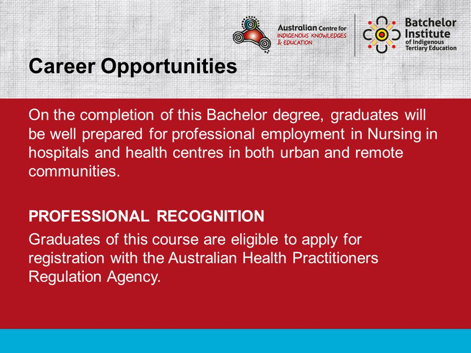 On the completion of this Bachelor degree, graduates will be well prepared for professional employment in Nursing in hospitals and health centres in b