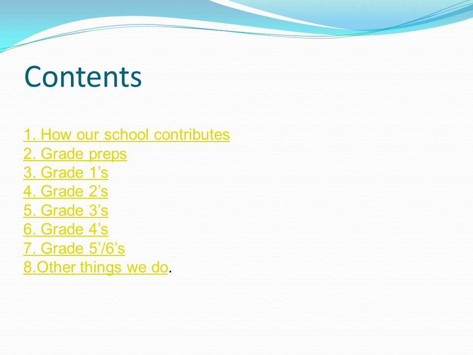Contents 1. How our school contributes 2. Grade preps 3. Grade 1's 4. Grade 2's 5. Grade 3's 6. Grade 4's 7. Grade 5'/6's 8.Other things we do8.Other