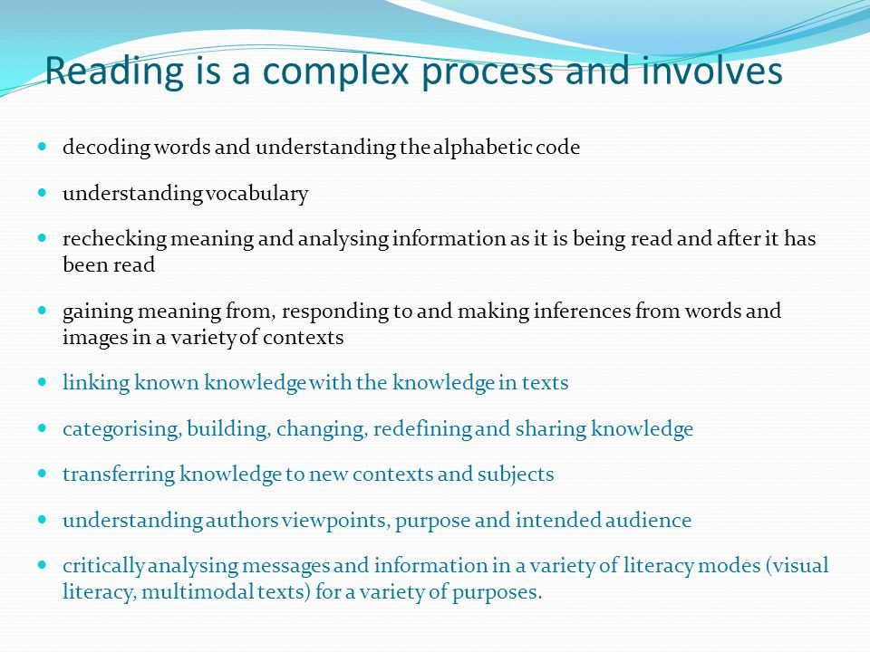 decoding words and understanding the alphabetic code understanding vocabulary rechecking meaning and analysing information as it is being read and aft
