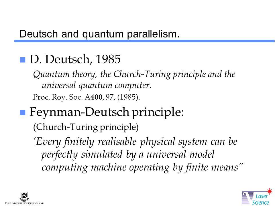 Deutsch and quantum parallelism. D.
