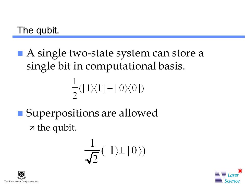 The qubit. A single two-state system can store a single bit in computational basis.