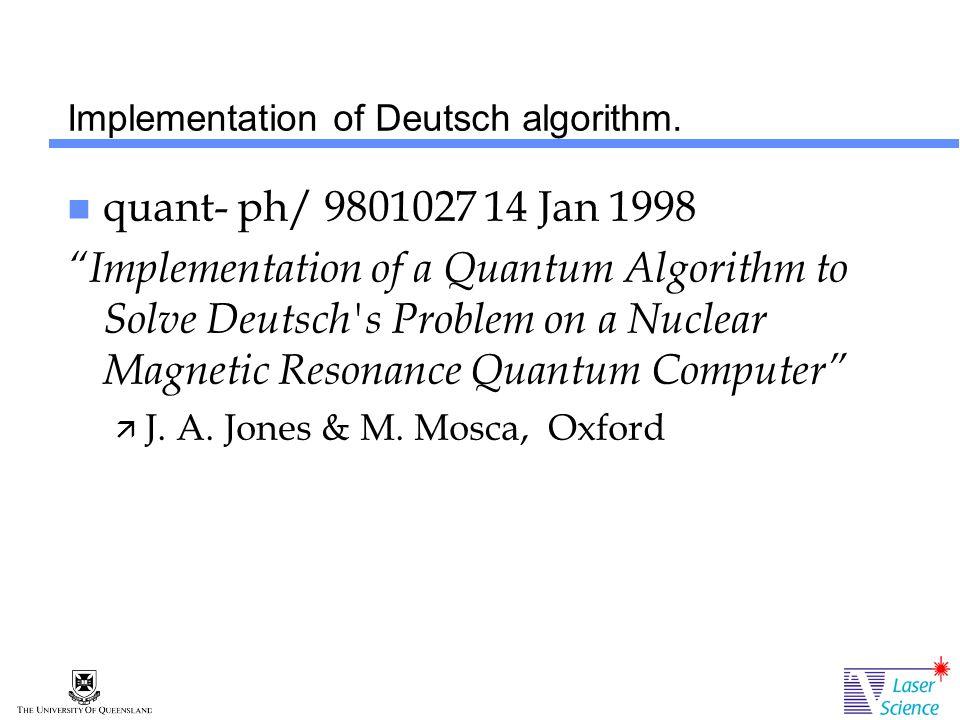 Implementation of Deutsch algorithm.