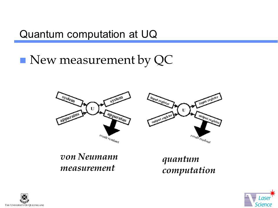 Quantum computation at UQ New measurement by QC von Neumann measurement quantum computation