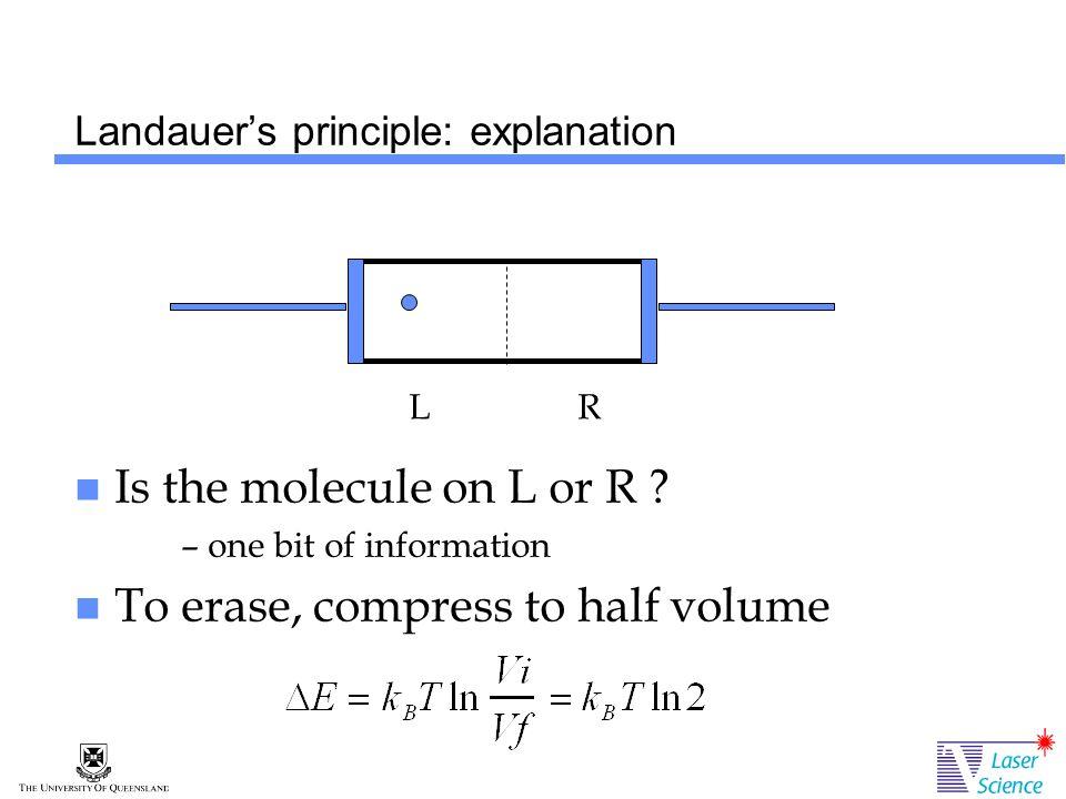 Landauer's principle: explanation Is the molecule on L or R .