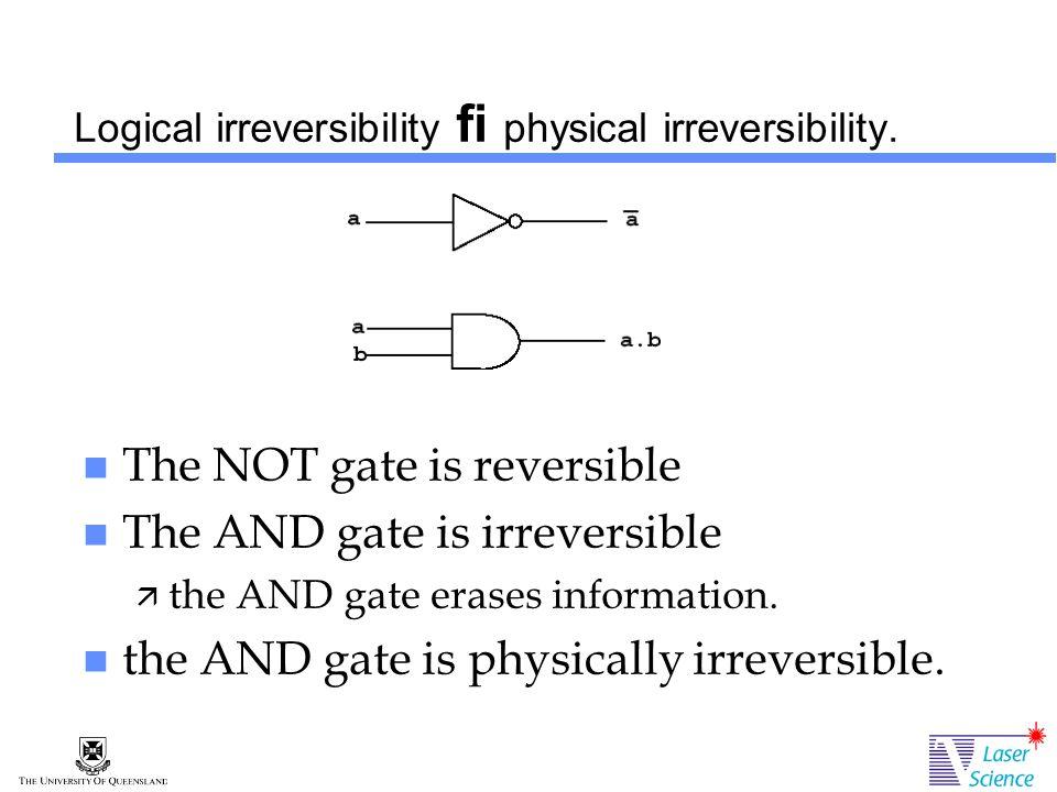 Logical irreversibility fi physical irreversibility.