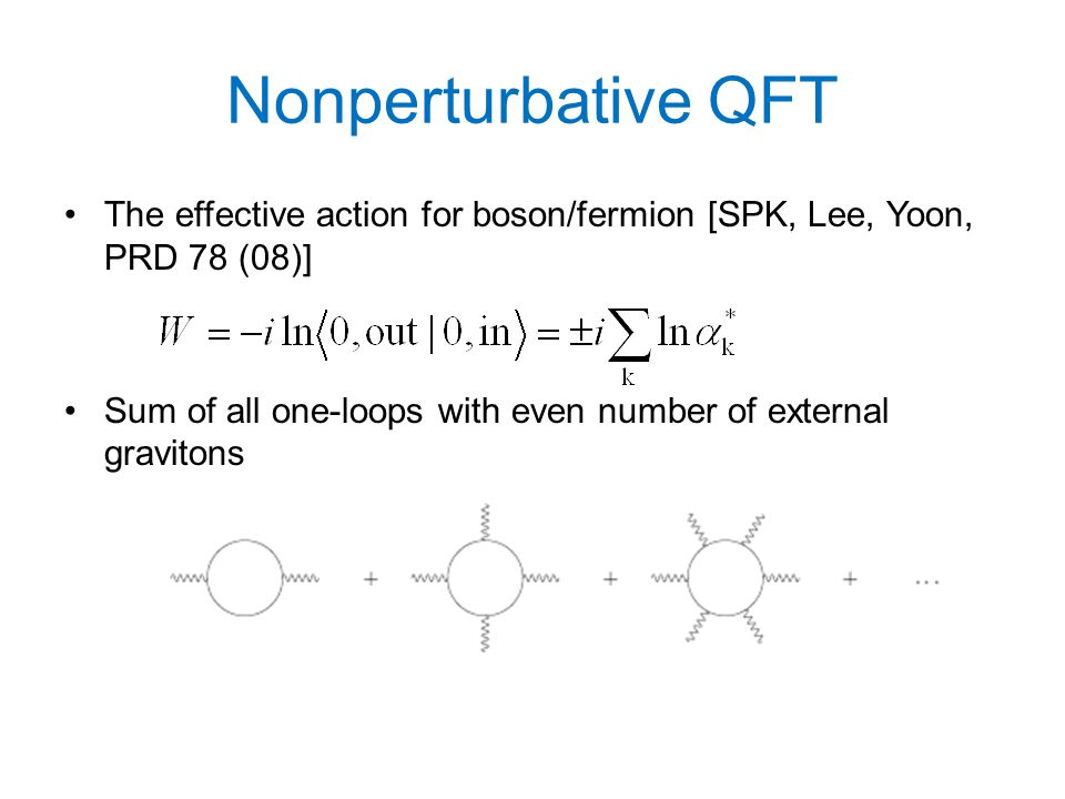 Nonperturbative QFT The effective action for boson/fermion [SPK, Lee, Yoon, PRD 78 (08)] Sum of all one-loops with even number of external gravitons
